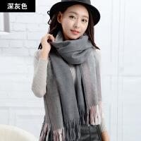 围巾女冬天长款加厚围脖时尚韩版可爱仿羊绒百搭英伦格子学生披肩