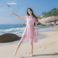 2018夏季新款女装修身显瘦短袖收腰气质镂空蕾丝连衣裙中长款裙子 粉红色