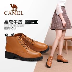 骆驼女鞋2018冬季新款时尚英伦马丁靴真皮休闲靴子方跟系带女短靴