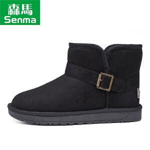 森马2017冬季新款雪地靴男 加绒保暖英伦加棉短靴时尚短筒靴棉靴