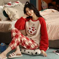 轩之婷 冬款睡衣女珊瑚绒套头可爱甜美格子两件套装家居服加厚冬天法兰绒