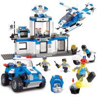 小鲁班 益智积木拼插玩具 拼装玩具 拼插模型城市特警大楼飞机吉普车 M38-B0191