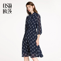 ⑩OSA欧莎2018春装新款女装 气质优雅收腰显瘦印花连衣裙A13019