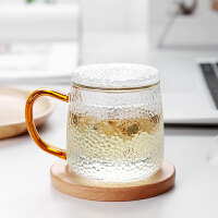 光一家用茶水分离玻璃杯子简约过滤泡茶杯小号单个水杯带把耐高温茶杯