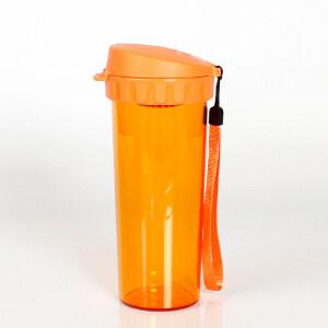 特百惠茶韵随心水杯子500ml塑料防漏便携运动茶杯 琥珀橙