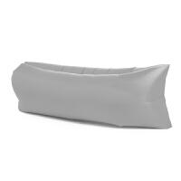懒人户外充气沙发袋便携式空气床垫午休床野营露营气垫床单人沙滩 浅灰色 涤纶升级版