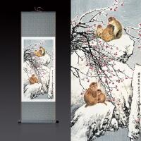 水墨装饰画国画水墨画客厅装饰画猴子图招财挂画风水画丝绸画卷轴