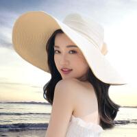 沙滩帽遮阳草帽大沿帽子女夏天可折叠防晒太阳帽出游海边百搭度假