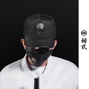 初�q复古潮牌中国风狮子头弯沿棒球帽子夏男女出行鸭舌帽子46068