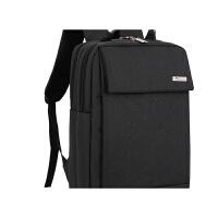男士电脑包双肩15.6寸14旅行背包韩版商务通勤约大高中学生书包 黑色 款式一