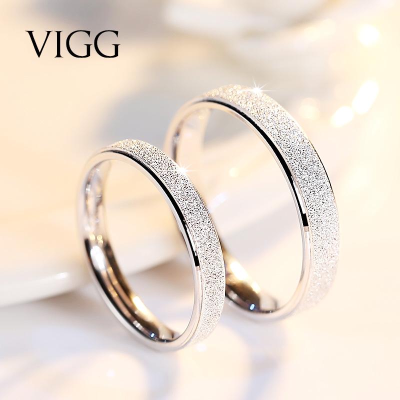 食指网红戒指女纯银一对日韩简约潮人学生情侣对戒男清新个性大气 925银镀白金,纯银不过敏