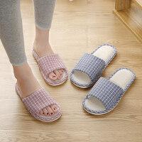 新款亚麻拖鞋女家居地板棉麻软底鞋子 男居家室内防滑家用拖鞋女
