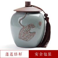 茶�~罐陶瓷家用小�陶瓷茶�~罐�花造型哥�G茶具密封罐存�ξ锕拮哟笮√�家用防潮茶罐