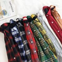 秋冬女装韩版宽松百搭格子加绒加厚衬衣POLO领衬衫学生上衣打底衫