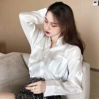 秋季新款2018百搭气质上衣女宽松v领长袖衬衫口袋单排扣纯色衬衣 均码