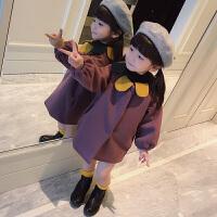 童装秋款女童呢子夹棉外套中长款加厚呢大衣宝宝毛呢上衣韩版潮