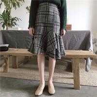 原宿裙子女秋冬新品复古chic风不规则高腰格子半身裙毛呢子鱼尾裙