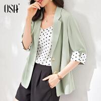 OSA七分袖小西装外套女薄款夏季2021年新款宽松休闲职业西服上衣