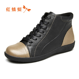红蜻蜓女单鞋2017秋季新品休闲舒适运动鞋时尚拼色真皮韩版女鞋