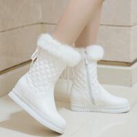 女童雪地靴2017秋新款白色防水大童短靴公主加绒棉鞋小女孩靴子