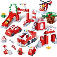 【大颗粒】邦宝拼插积木3-6周岁儿童玩具桶装消防大演练9642