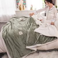 毛毯被子双层法兰绒床单双人珊瑚绒毯子冬季小沙发毛巾被加厚保暖