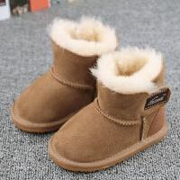 冬季�和�雪地靴羊皮毛一�w男女童鞋小����短靴子�底���W步鞋棉