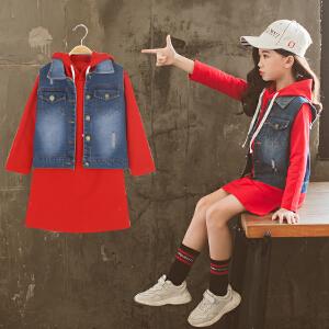 童装2018秋季新款女童马甲套装儿童长袖T恤+牛仔马甲女孩两件套