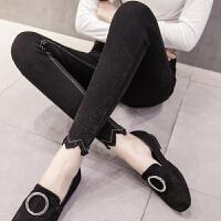 加绒加厚打底裤女外穿冬季高腰紧身黑色小脚裤带绒显瘦保暖长裤子