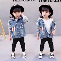 童话元素童装春装2018新款女童韩版牛仔外套中小儿童长袖星星拼接连帽上衣 蓝色