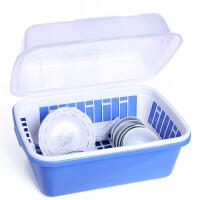 实用型带盖沥水碗柜 碗柜塑料厨房沥水碗架带盖碗筷餐具收纳盒放碗碟架滴水碗盘置物架 A218