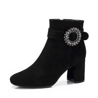camel骆驼女鞋冬季新款粗跟短靴女加绒保暖时尚圆头短筒高跟女靴子
