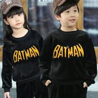 女童男童秋韩版加绒加厚儿童中大童金丝绒卫衣运动套装