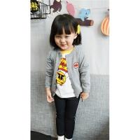 2017秋季中小儿童面包超人针织开衫毛衣外套男女小宝宝长袖衣服 灰色 薄款