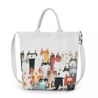 帆布包女斜跨包韩版单肩手提帆布袋简女包 白色 5只猫图案