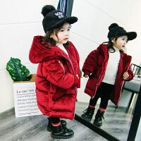 小女童棉衣2017新款1-3岁5宝宝洋气装金丝绒外套中长款羽绒 红色