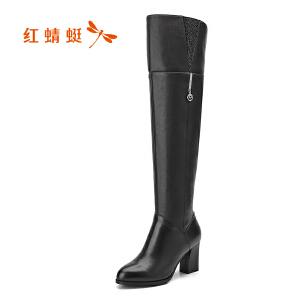红蜻蜓女鞋2017冬季新款过膝长筒靴 时尚中跟过膝靴 显瘦高跟长靴