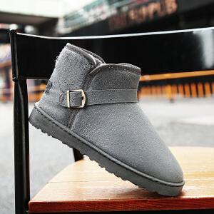 冬季加绒马丁靴男士雪地靴防水保暖靴子韩版短靴加厚棉鞋高帮男鞋