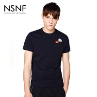NSNF手绘装饰刺绣纯棉修身男款短袖T恤 短袖t恤男装2017新款 修身圆领针织短袖
