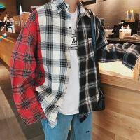 男外套2018秋季新款青少年长袖衬衫韩版港风日系bf休闲格子寸衫潮