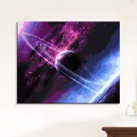 数字油画星空 数字油彩画填充画卧室数字油画抽象手绘填色画星空星球L 星球 100*120cm自己组合内框 2套高亮环保