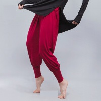 成人女现代舞瑜伽裤 广场舞服装基础练功裤子 新款束脚裤民族舞纯色灯笼裤