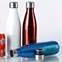 500毫升不锈钢保温杯可乐瓶双层真空保温瓶 蓝色创意可乐瓶不锈钢保温杯男女学生水杯商务杯