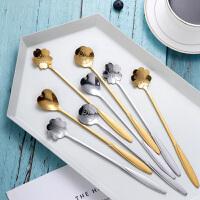 光一咖啡勺不锈钢个性网红樱花勺子创意可爱欧式小奢华花瓣长柄搅拌勺