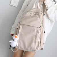NR大容量纯色双肩包女韩版百搭书包中学生初中生背包女双肩多隔层