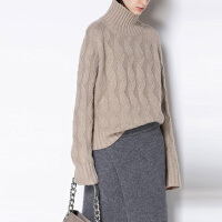 欧洲站100%纯羊绒衫女高领短款加厚宽松百搭大码显瘦套头妞花毛衣