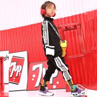 男童加绒套装冬装2018新款韩版儿童街舞嘻哈洋气运动卫衣秋季潮牌 黑色 收藏加购物车先发