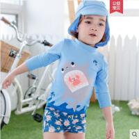韩版新颖造型分体泳装男童中小童防晒温泉泳装儿童泳衣宝宝7619-WKRB
