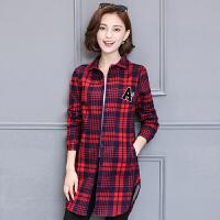 衬衫 女士翻领加绒格子长袖衬衫2019年冬季新款韩版时尚潮流女式宽松休闲女装保暖衬衣