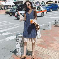 长袖连衣裙春秋装2018新款裙子加外搭韩版套装初恋复古港味两件套